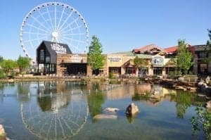 The Ferris wheel and Ole Smoky Moonshine Barn at The Island in Pigeon Forge.