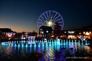 smoky mountain wheel and fountain lights