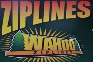 wahoo ziplines sign
